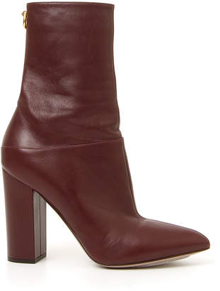 Valentino Ring Rockstud Leather Booties