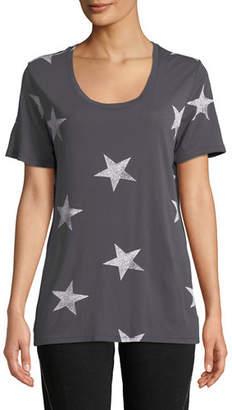 Monrow Star-Print Scoop-Neck Short-Sleeve Relaxed Shirt