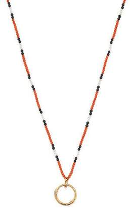 Gucci Men's 18k Beaded Necklace w/ Ouroboros, Red