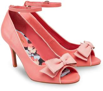 Joe Browns Peep Toe Mid Heel Shoes with Ankle Strap and Bow