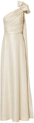 Elizabeth Kennedy One Shoulder Gown With Bow And Back Train