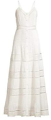 Alice + Olivia Women's Meg Embroidered Pintuck Crochet-Trim Button-Front A-Line Dress - Size 0