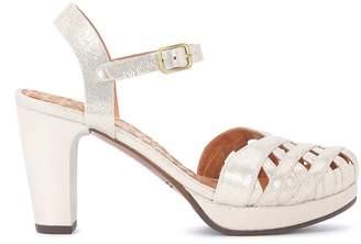 Chie Mihara Gaime Platinum Metallic Leather Heeled Sandal