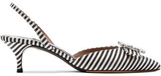 Bells Crystal-embellished Striped Canvas Slingback Pumps - Black