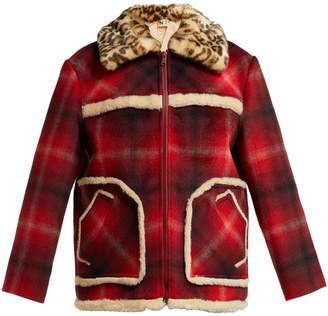 No.21 NO. 21 Leopard-print collar tartan jacket