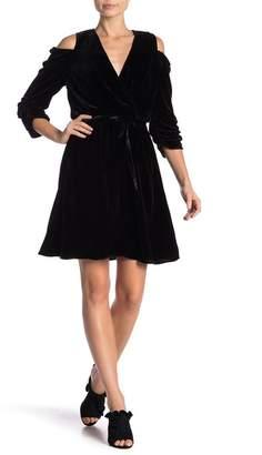 Hale Bob Silk Blend Cold Shoulder Mini Dress