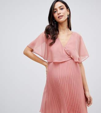 83d2ec40e4 Asos DESIGN Maternity flutter sleeve mini dress with pleat skirt