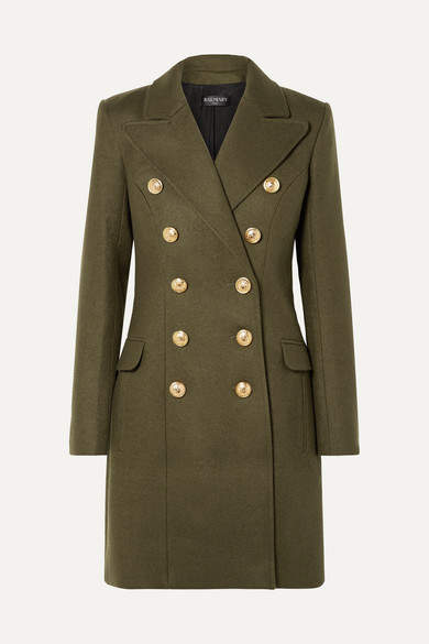Button-embellished Wool And Cashmere Blend Coat - Army green