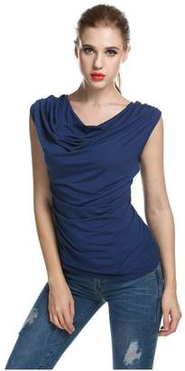 Angcoco Womens Tops Angcoco Women's Cowl Neck Ruched Drapped Sleeveless Stretchy Tank Top