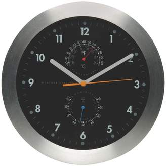 WEATHER Black analogue wall clock with thermometer D30cm