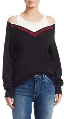 Alexander Wang Varsity-Trim V-Neck Sweater