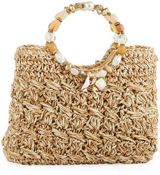 Capelli of New York Straworld Sea Charms Crochet Straw Tote Bag, Natural