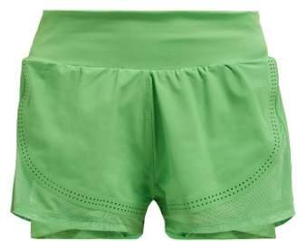adidas by Stella McCartney Double Layer Stretch Shorts - Womens - Green
