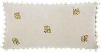 Joanna Buchanan Embroidered Bee Cushion with Pom Pom Trim
