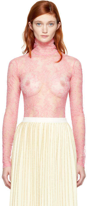 Gucci Pink Long Sleeve Lace Blouse
