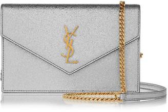 Saint Laurent - Monogramme Envelope Small Metallic Textured-leather Shoulder Bag - Silver $1,275 thestylecure.com