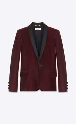 Saint Laurent Iconic Le Smoking Single-Breasted Jacket In Burgundy Velvet