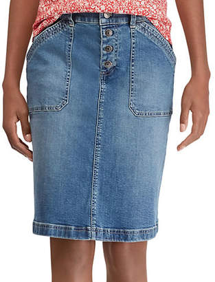 Chaps Petite Petite Denim Buttoned A-Line Skirt