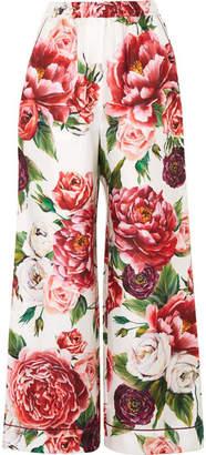 Dolce & Gabbana Floral-print Silk-twill Wide-leg Pants - Pink