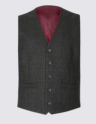 Marks and Spencer Brown Wool Rich Tailored Fit Checked Waistcoat