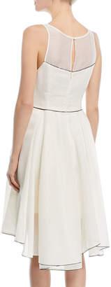 Halston Sleeveless Cocktail Dress w/ Dramatic Skirt