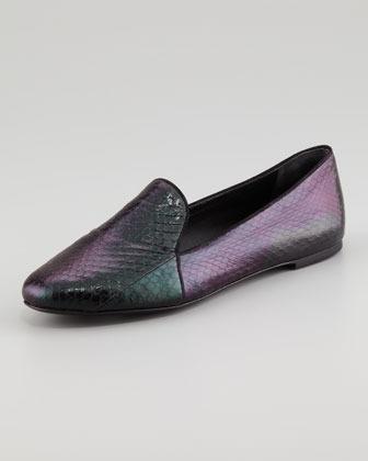 Brian Atwood Claudelle Hologram Snakeskin Slipper, Black