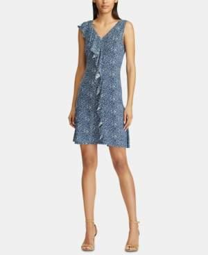 American Living Floral-Print Ruffle-Trim Jersey Dress