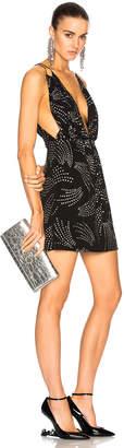 Saint Laurent Glitter Deep V Mini Dress