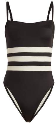 Solid & Striped X Re/done The Malibu Colour Block Swimsuit - Womens - Black Cream