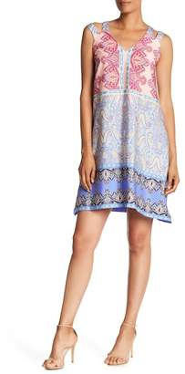 Nicole Miller V-Neck Print Dress