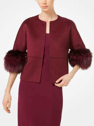 Michael Kors Fox Fur-Cuffed Cashgora Jacket