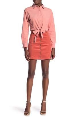 Very J Button Up Corduroy Skirt