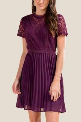 francesca's Brielle Pleated Lace Dress - Purple
