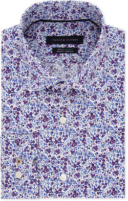 Tommy Hilfiger Men's Slim-Fit Th Flex Non-Iron Supima Stretch Floral Dress Shirt