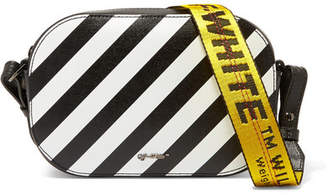 Off-White Striped Textured-leather Camera Bag - Black