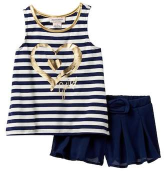Juicy Couture Striped Heart Hi-Lo Tank & Crinkle Gauze Short Set (Big Girls)