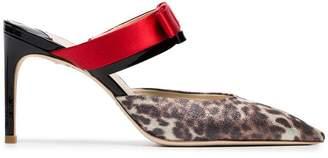 Sophia Webster Andie 85 leopard print bow mules