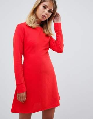 Missguided tie waist sweat dress in red