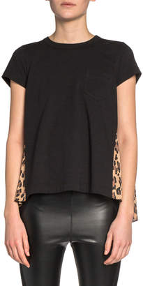 Sacai Cotton-Front Tee with Leopard-Print Chiffon Back