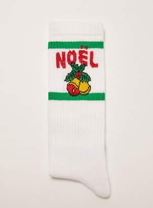 Topman Christmas Metallic Thread 'Noel' Tube Socks