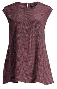 Eileen Fisher Roundneck Cap-Sleeve Silk Top