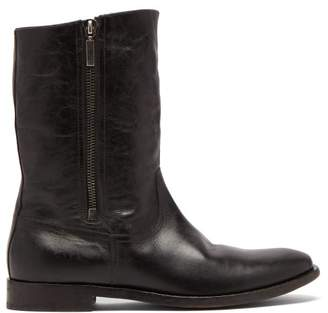 Saint Laurent Shearling Lined Leather Boots - Mens - Black
