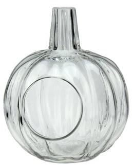 "Northlight 9"" Transparent Glass Pumpkin Shaped Decorative Pillar Candle Holder"