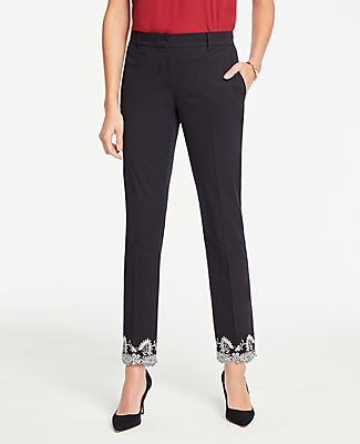 Ann Taylor The Petite Ankle Pant In Embroidered Hem - Curvy Fit