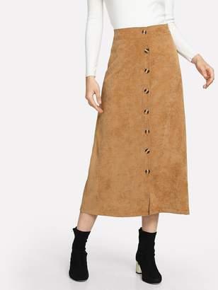 Shein Corduroy Button Decoration Skirt