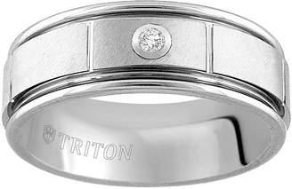 MODERN BRIDE Unisex 8mm Diamond Accent Genuine White Diamond Tungsten Round Wedding Band