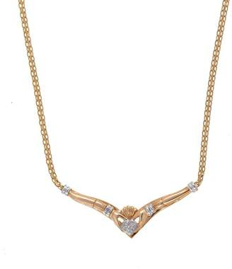 14K Yellow Gold Claddagh 0.09ct. Diamond Necklace
