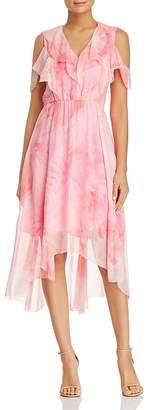 Elie Tahari Clintona Ruffled Cold-Shoulder Silk Midi Dress