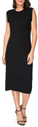 Bobeau B Collection by Lyla Ribbed Twist-Back Midi Dress