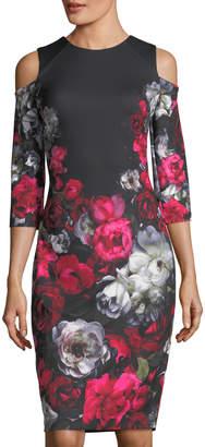 Jax Printed Scuba Crepe Cold-Shoulder Dress